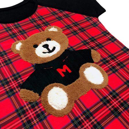 تیشرت دخترانه طرح خرس چهارخانه