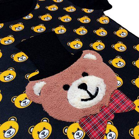 تیشرت دخترانه خرس مشکی کلاه دار