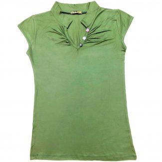 تاپ زنانه 3 دکمه سیتا تین سبز یشمی حراجی