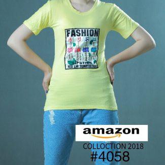 تیشرت زنانه سیتا تیین رنگ لیمویی حراج شده