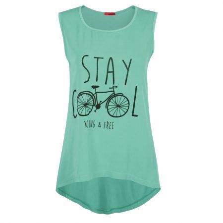 تاپ زنانه نخی دوچرخه سبزآبی روشن بامبو