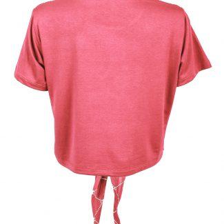 تی شرت زنانه نیم تنه نخی صورتی تیره